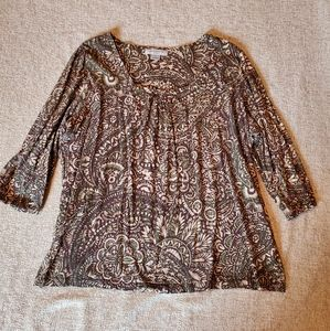 Liz Claiborne Tops - Woman's 1x 3/4 sleeve scoop neck Brown shirt